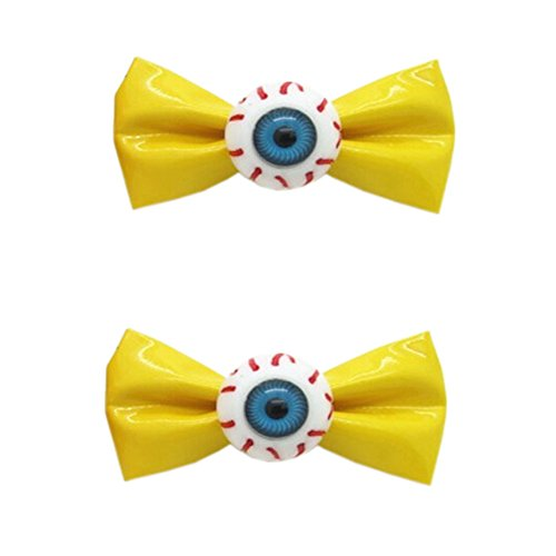 [1 Paire] Clips Zipper style JAUNE bowknot cheveux Eye Ball bowknot cheveux