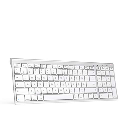 Jelly Comb Kabellose Bluetooth Tastatur, Wiederaufladbare Funktastatur mit 3 Bluetooth Kanal für iPad/MacBook/iPhone, Mac OS X/iOS/Apple OS, QWERTZ Deutsches Layout, Weiß und Silber