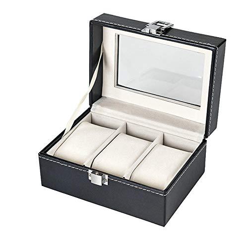 FIONAT Watch Box Jewelry Boxes Men Women Gift Black Pu Leather 3-Digit Watch Box with Glass Sunroof Watch Display Storage Box 15.5 * 11 * 8Cm