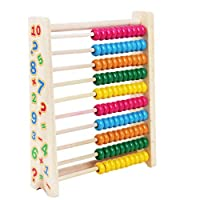 Milisten 10ストール木製そろばんおもちゃ数学計算おもちゃ早期教育子供赤ちゃんを数えるためのカラフルな非毒性ビーズ