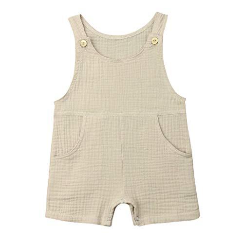 Baby Boys' Short Sleeve Rompers Jumpsuit,Organic Cotton and Linen Sleeveless One-Piece Coverall (Light Green, 0-3M)