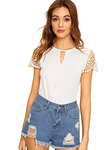 Hollow out round neck, lace cap sleeve, solid color, elegant basic short sleeve tee. Regular fit, front keyhole neck plain pullover blouse. Good match with skinny jeans, pants, skirt and etc. Suitable for spring and summer. Perfect for casual, shoppi...