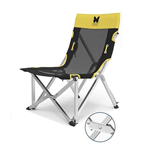 WSDSX Silla reclinable Plegable Silla de Camping, Asiento Plegable Ligero para Exteriores, Silla de salón de Picnic en la Playa para jardín, Capacidad de Carga 150 kg (Gris, Amarillo, Verde) BEA