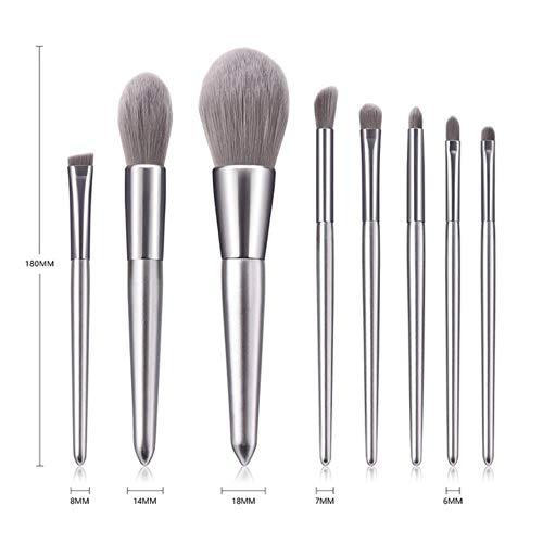 DQC Makeup Brushes Cosmetics Brush 8Pcs/Set Foundation Powder Tools Mini Silver Makeup Brushes Set,8pcs
