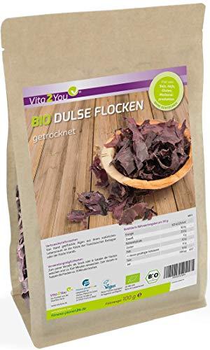 Bio Dulse Flocken   100g   getrocknet   Lappentang   Ökologischer Anbau   Rotalgen im Zippbeutel   Premium Qualität