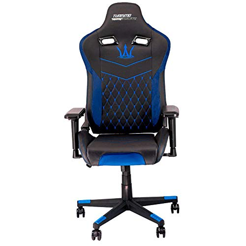 Turismo Racing Modena Series - Black and Blue Gaming Chair – Ergonomic Gaming Seat with Crossover Memory Foam and Premium Pillows for Extra Comfort and Support