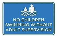 大人の監督なしで泳ぐ子供はいない。金属スズサイン通知街路交通危険警告耐久性、防水性、防錆性