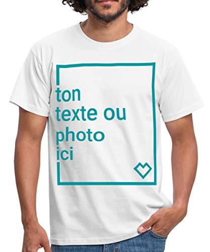 Créez Votre Propre T-Shirt Personnalisé avec Texte ou Photo Imprimée T-Shirt Homme, L, Blanc
