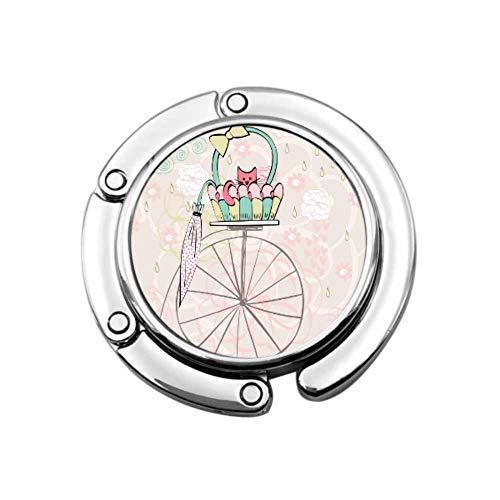 Gancho Monedero Tarjeta Vintage Gato En Bicicleta Bolso Plegable Mesa Colgador-Bolso Colgador...