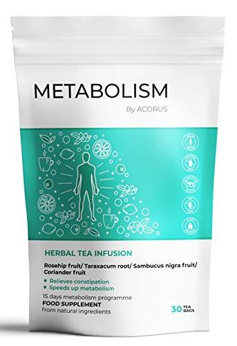 ACORUS Metabolism Kräutertee ● 15 Tage Tee Programm ● 100% natürliche Kräuterteemischun Beschleunigt den Stoffwechsel (2g x 30)