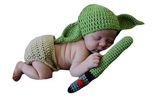 3 Pcs Neugeborenes Baby Häkeln Kostüm Outfits Fotografie Requisiten Star Wars Master Yoda Hut+Hose+Grüne Klinge Lichtschwert 0-6 Monate