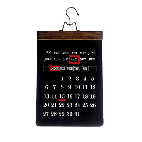NIKKY HOME Rustic Wooden Large Wall Hanging Perpetual Calendar with Magnet Markers, Black