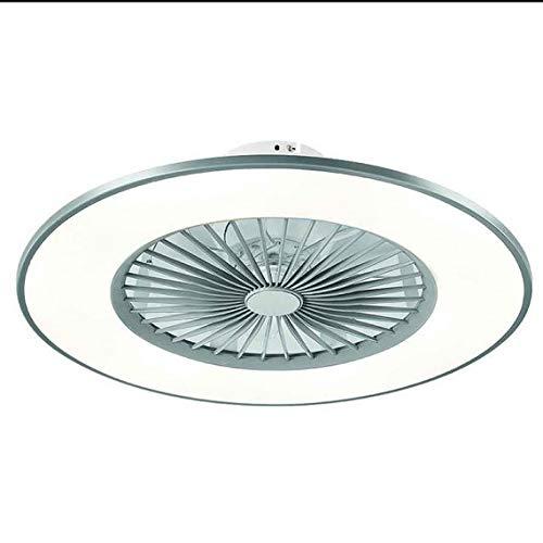 TODOLAMPARA - Ventilador de techo con luz LED 24W modelo BOFU Plata, 3 tonalidades, aspas interiores escondidas y protegidas, 3 velocidades, control remoto, memoria y temporizador, 56cm diámetro