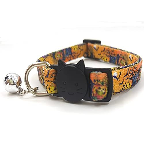 Dswe Suministros para Mascotas Collar de Campana de Gato Personalizado Suministros para Perros Collar de Campana de Gato de tracción Cinta Suave con Hebilla Separable - Marrón - 1.0X 17-27cm