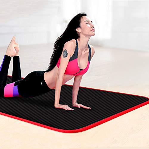 NYSJLONG Esterilla de Yoga de 10 mm Esterillas de Yoga engrosadas Antideslizantes Deportivas Resistentes al desgarro Nbr Fitness Mats Sports Gym Pilates Pads con Bolsa de Esterilla de Yoga y Vendajes
