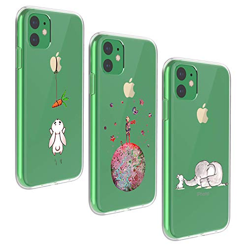 Oihxse - Carcasa de Repuesto para iPhone 11 Pro, de Silicona, Ultrafina, Transparente, Delgada, de TPU, para iPhone 11 Pro de 5,8 Pulgadas, en Total Tres