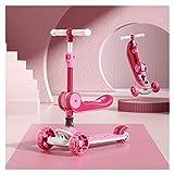 Patinete plegable apto para niños de 3 a 14 años, patinete para principiantes, 3 ruedas luminosas, material PP ecológico, manillar de aleación de aluminio, ajustable en 4 velocidades -B/C