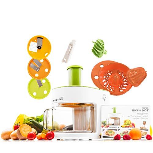 Mediashop Livington Slice & Dice Set – elektrischer Allesschneider – 6-in-1 Gemüseschneider mit Zitruspresse – Multischneider mit Edelstahlmessern