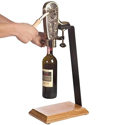 Franmara 4085SET Le Grape Brass-Plated Counter Mount Wine Bottle Opener with Table Stand