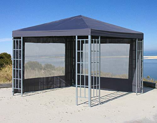 QUICK STAR Rank Pavillon Set 3x3m Metall Garten Partyzelt Anthrazit mit 2 Seitenteilen mit Fenster