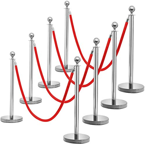 Yaheetech Personenleitsystem, 8 Abgrenzungsständer mit 4 Kordeln, Absperrständer Absperrpfosten Gurtpfosten Absperrung, Edelstahl Silber