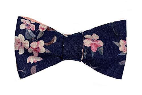 Handgenähte Herren Anzug - Fliege blau rosa Blumen/Schleife zum Selbstbinden - Selbstbinder - Querbinder