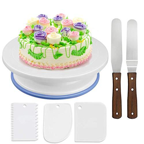 Wisfox Cake Plate Rotating Cake Stand Torta Giradischi Cake Decorating Giradischi con 2 set di coltelli, Set di 3 glassa liscia perfetta per torte, torte e crostate (in plastica)