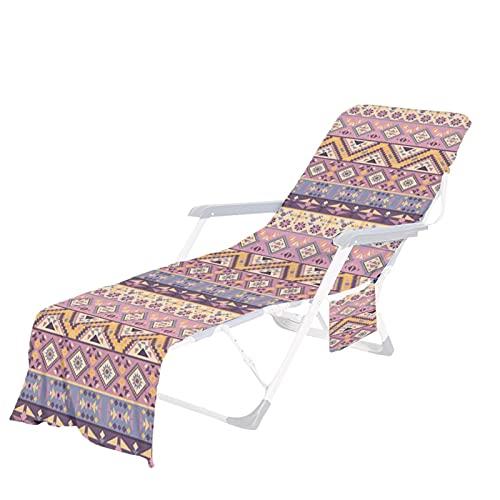 Toalla para silla de playa, microfibra con bolsillos laterales de almacenamiento para piscina, tumbona, hotel, vacaciones