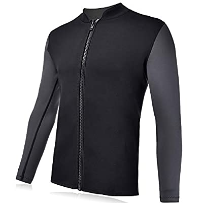 REALON Wetsuits Top Jacket Vest Mens Women 2mm Neoprene Long Sleeve/3mm Sleeveless Shirt Front Zip Sports XSPAN for Scuba Diving Surf Swimming Snorkel Suit (2mm Wetsuit Top Men/Black, S)