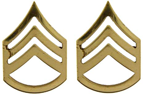 United States Army SGG E6 Insignia of Rank 1.25' Gold Tone Lapel Pins (Set of Two)