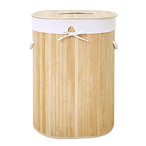 WM Homebase Wäschekorb aus Bambus Aufbewahrungsbox mit Deckel naturfarben oval(41x60x31cm) B001