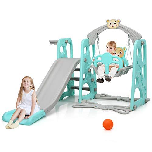 GOPLUS 3 in 1 Spielplatz, Spielplatz mit Kinderrutsche & Schaukel & Basketballkorb & Leiter, Spielturm für Indoor/Outdoor, Spielgerät ab 1 Jahr, Belastbarkeit bis zu 50 Kg, Farbwahl (Blau)
