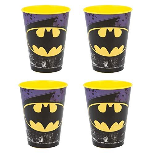 4 x Kinder Trinkbecher 260 ml/wählbar: Spiderman - Batman - Thomas - Mickey/Becher Glas aus Kunststoff BPA frei/Geschenk für Jungen (Design Batman)