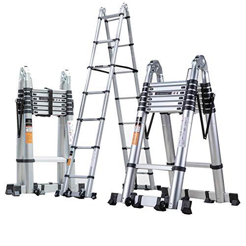 Lsqdwy Escalera telescópica multifunción, Escalera Plegable de Aluminio, Escalera Recta portátil, con...