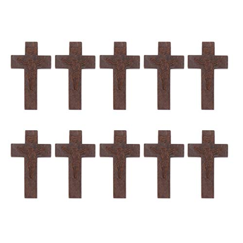 WINOMO 70pcs Wood Cross Pendants DIY Christian Cross Charms Mini Wooden Cross Crafts Ornaments for Jewelry Making Religious Party Favors Sunday School Coffee