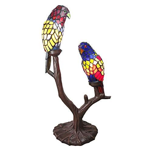 Lumilamp 5LL-6017 Tiffany - Lámpara de Mesa (2 papagayos, Aprox. 50 x 24 x 63 cm.