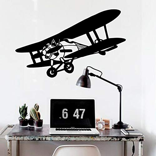 yiyiyaya Kunst Vinyl Aufkleber Doppeldecker Flugzeug Himmel Flug Baby Jungen Design Wandaufkleber Wohnzimmer Kunst Flugzeug Wandbilder DIY Wohnkultur 55X108 cm