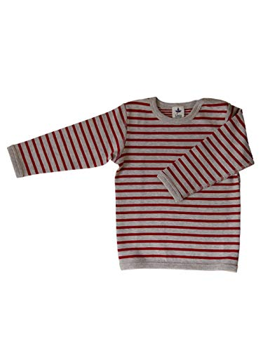 Leela Cotton Baby Kinder Langarmshirt Wendelangarmshirt Bio-Baumwolle Jungen Mädchen Gr. 50/56 bis 140 (86/92, Ziegelrot)