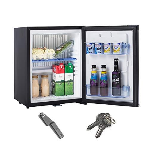 Smad Mini-Kühlschrank 12V und 220V Minibar Absorption Kühlschrank für Camping Wohnmobil RV Auto Büro Hotel Klein Kühlschrank mit Schloss Lautlos Leise Schwarz 30L