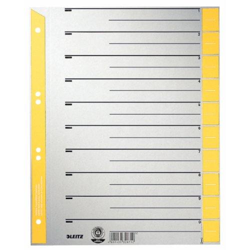 Leitz 16520015 Trennblatt, A4, Karton, farbig bedruckt, gelb