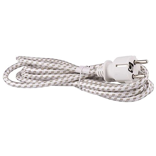 EMOS KF-CR1 S00003 strijkijzer-aansluitkabel 1x 2,4 m/voedingskabel/aansluitkabel/strijkijzerkabel textiel mantel (textielweefsel) wit/grijs/3X 0,75 mm/H05RR-F
