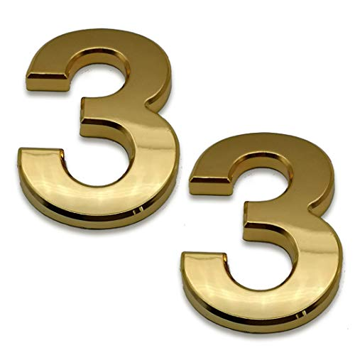 2 Pcs 4 Inch House Numbers 3, Self-Stick Gold Address Sign Number Stickers for (Mailbox Post, Apartment Door, Outside, Yard), Metal Shiny, by Sureyear. (4 Inch - NO.3, Gold)