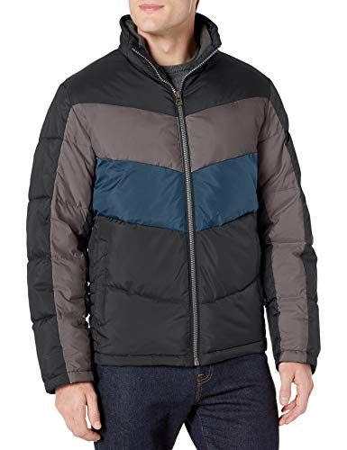 Lucky Brand Men's Southold Zip Front Quilted Ski Jacket, Black, Large
