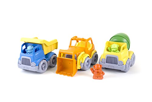 Green Toys Construction Vehicle Set, 3-Pack - Pretend Play, Motor Skills, Kids Toy Vehicles. No BPA, phthalates, PVC. Dishwasher Safe, Recycled Plastic, Made in USA.