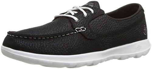 Skechers Performance Women's GO Walk Lite-Eclipse Boat Shoe,black/white,9.5 M US