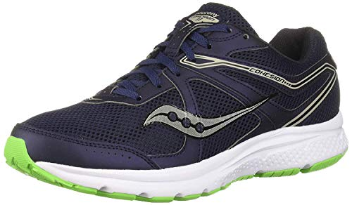 Saucony Men's Grid Cohesion 11 Sneaker, Navy/Slime, 070 W US