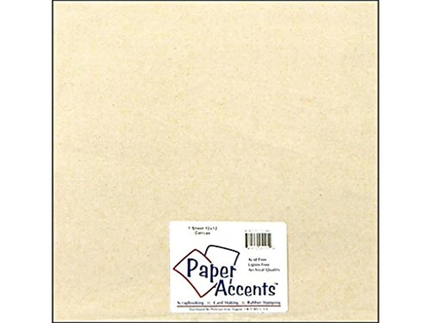Accent Design Paper Accents ADP1212-1.CAN 12x12 Natural Chipboard Fabric Sheet Canvas