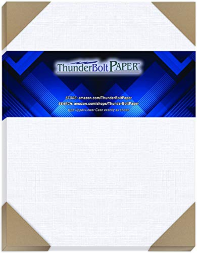 "75 Bright White Linen 80# Cover Paper Sheets - 8.5"" X 11"" (8.5X11 Inches) Standard Letter