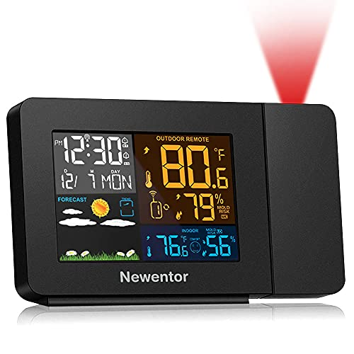Newentor Projection Alarm Clock with Weather Station for Bedrooms, Projector Atomic Clocks WWVB Function, Wireless Indoor Outdoor Thermometer Temperature Humidity Monitor Hygrometer Gauge