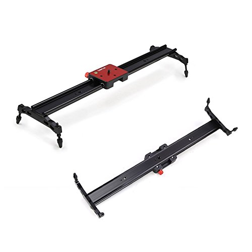 """Koolertron Aluminum Alloy Video Track Slider in Video Shooting Rail Stabilization System with 1/4"""" and 3/8"""" Screw for Canon Nikon Sony DSLR Cameras Camcorders (80cm / 32"""" Length, Red)"""